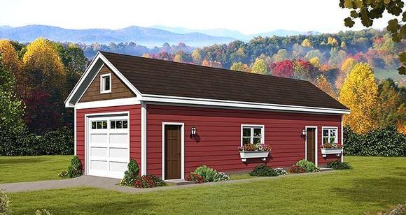 Craftsman, Traditional 1 Car Garage Plan 51544 Elevation