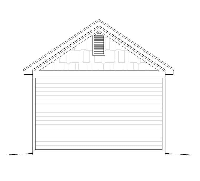 Craftsman, Traditional 1 Car Garage Plan 51544 Rear Elevation
