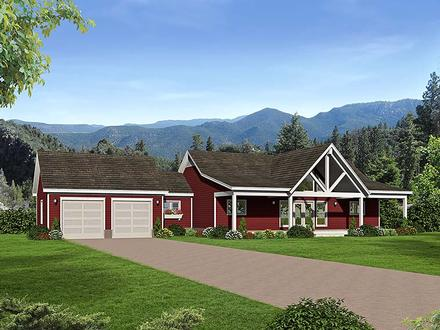 Country, Southern, Traditional House Plan 51551 with 2 Beds, 2 Baths, 2 Car Garage