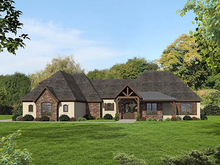 Country European Ranch Traditional House Plan 51557 Elevation