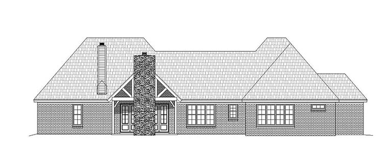 Country European Ranch Traditional House Plan 51557 Rear Elevation