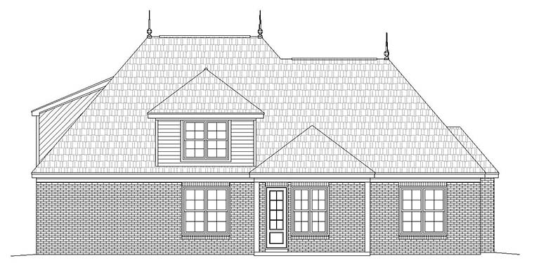 European, French Country House Plan 51586 with 4 Beds, 4 Baths, 2 Car Garage Rear Elevation