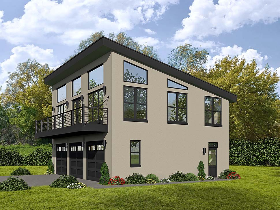 Modern Style 3 Car Garage Apartment Plan Number 51589 with 1 Bed, 2 Bath