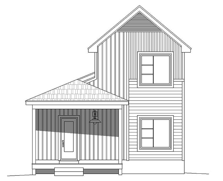 Cabin, Country, Traditional House Plan 51592 with 3 Beds, 2 Baths Rear Elevation