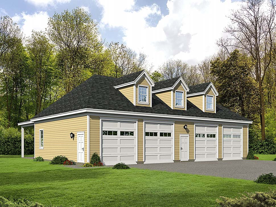 4 Car Garage Plan 51594 Elevation