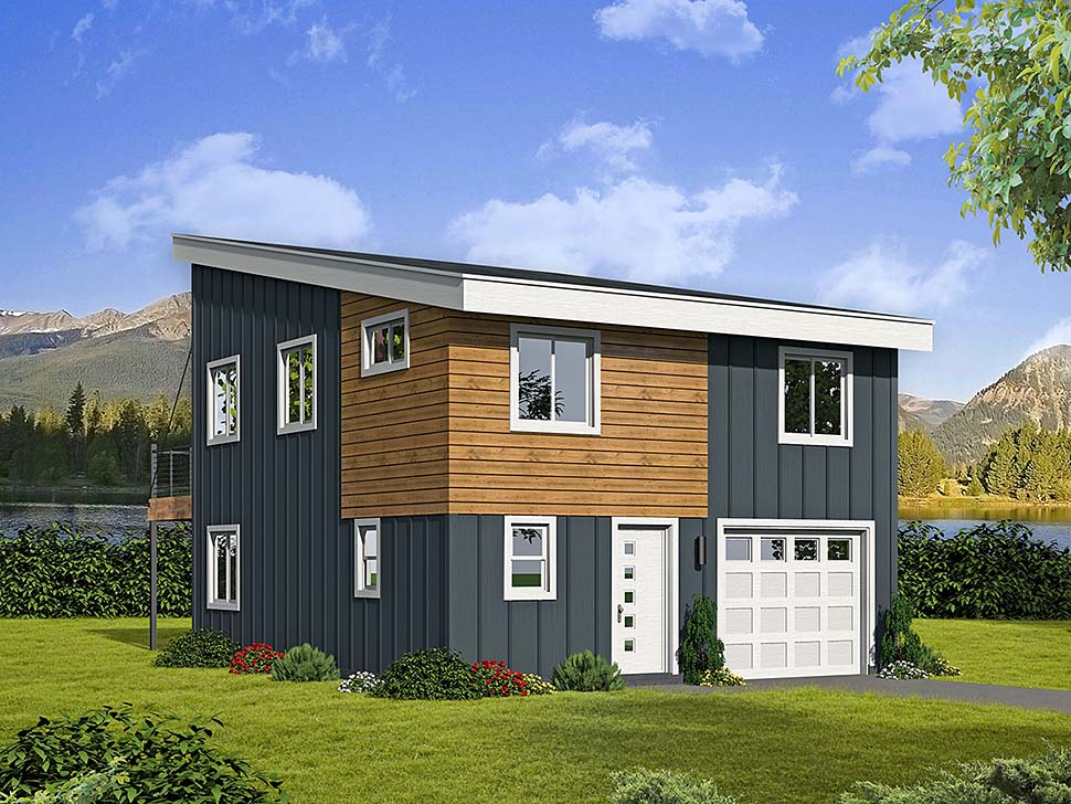 . Contemporary Style 1 Car Garage Apartment Plan Number 51597 with 3 Bed  2  Bath