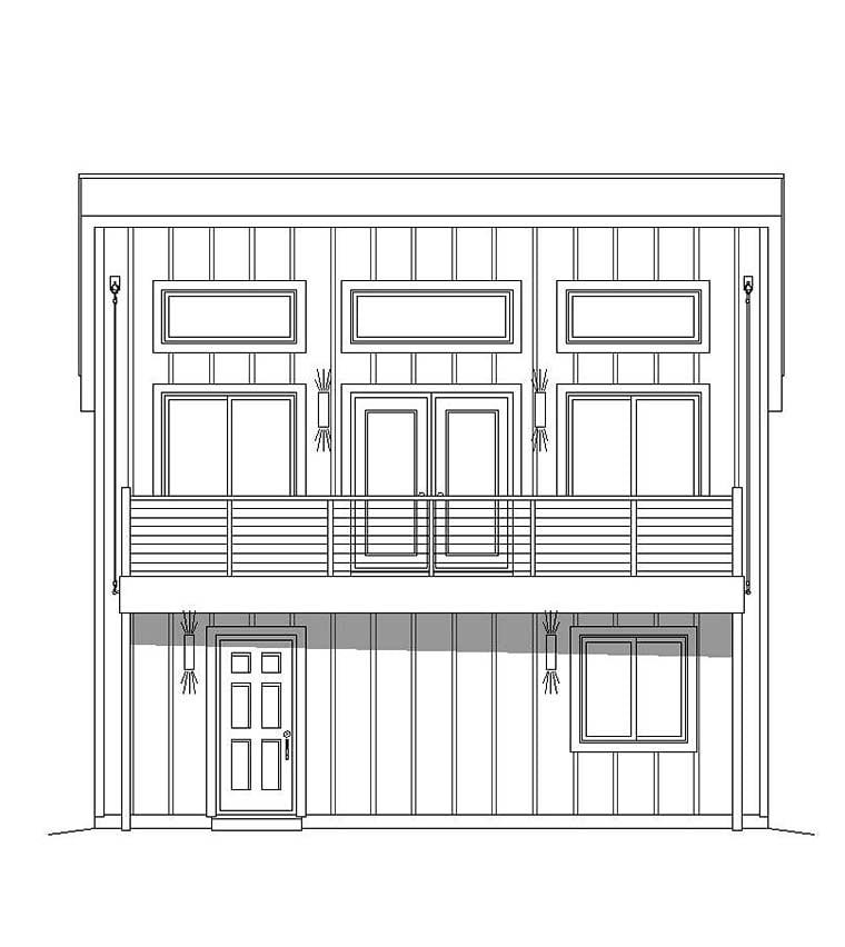 Contemporary, Modern Garage-Living Plan 51597 with 3 Beds, 2 Baths, 1 Car Garage Rear Elevation