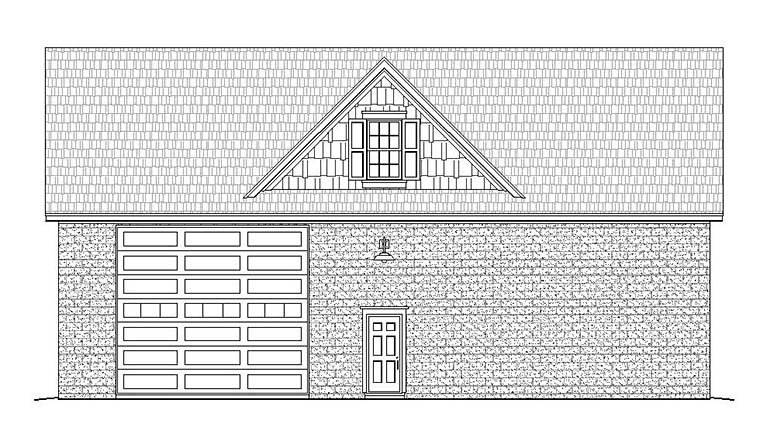 Traditional Rear Elevation of Plan 51598
