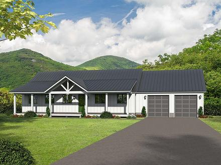 Ranch Southern Elevation of Plan 51600