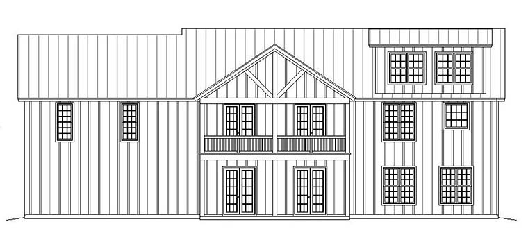 Ranch Southern Rear Elevation of Plan 51600
