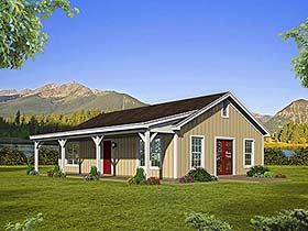 Country , Ranch House Plan 51610 with 2 Beds, 1 Baths Elevation