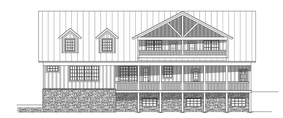 Country, Southern House Plan 51637 with 4 Beds, 5 Baths, 2 Car Garage Rear Elevation