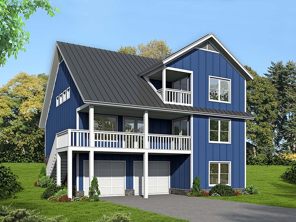 Country, Traditional Garage-Living Plan 51645 with 3 Beds, 4 Baths, 2 Car Garage Elevation