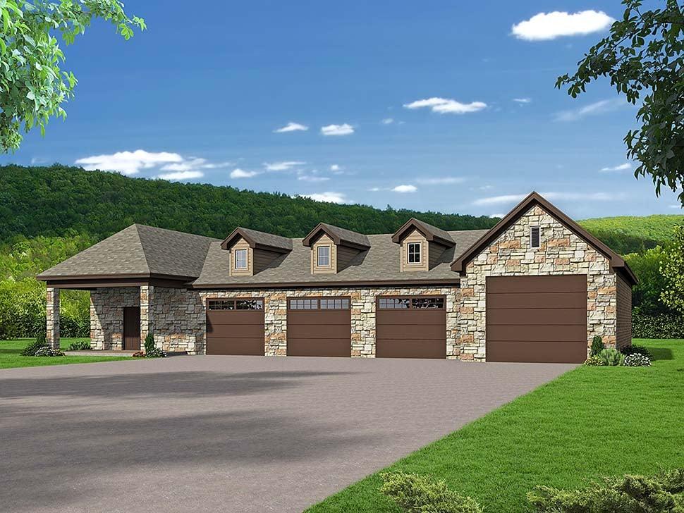 Traditional 6 Car Garage Plan 51651, RV Storage Elevation