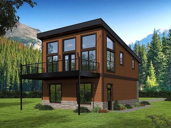 Coastal, Contemporary, Modern Garage-Living Plan 51652 with 1 Beds, 1 Baths, 2 Car Garage Elevation
