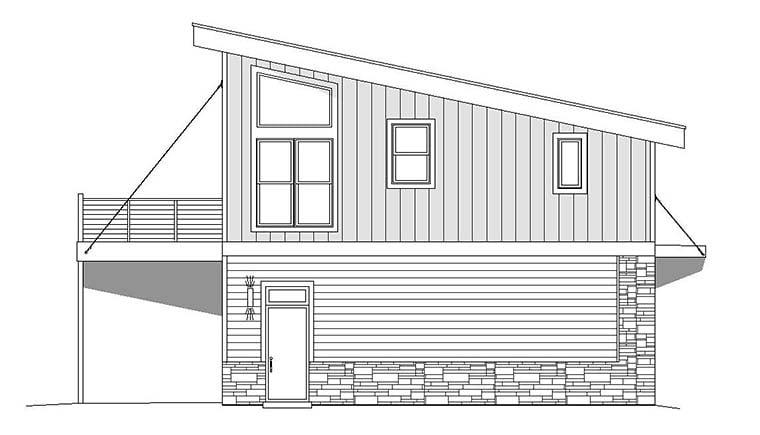 Coastal, Contemporary, Modern Garage-Living Plan 51652 with 1 Beds, 1 Baths, 2 Car Garage Picture 2