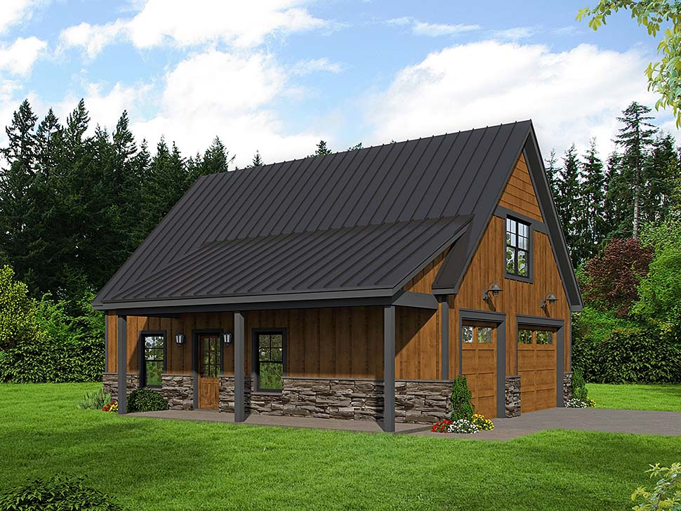 Bungalow, Country, Craftsman, Traditional 2 Car Garage Apartment Plan 51667 with 1 Beds, 1 Baths Elevation