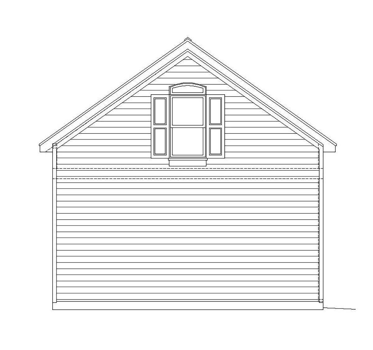 Cape Cod, Colonial, Cottage, Country, Farmhouse, Prairie, Ranch, Saltbox, Traditional, Tudor 2 Car Garage Plan 51669 Rear Elevation