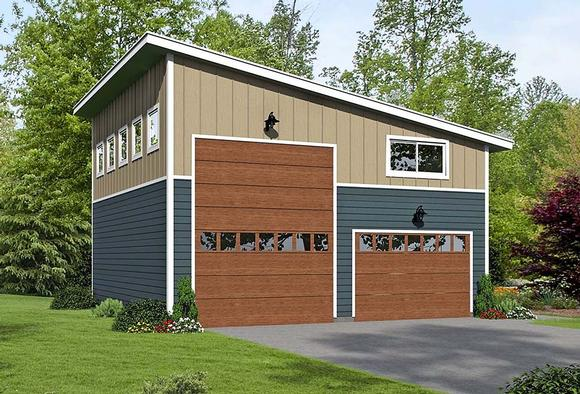 Contemporary, Modern 4 Car Garage Plan 51671, RV Storage Elevation