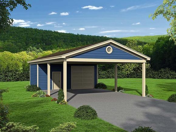 Bungalow, Cape Cod, Coastal, Colonial, Cottage, Country, Craftsman, Farmhouse, Prairie, Ranch, Saltbox, Traditional, Tudor 3 Car Garage Plan 51673 Elevation