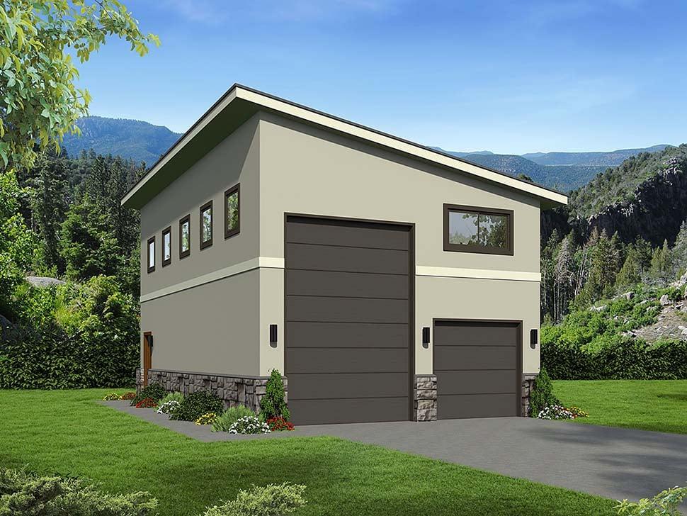 Contemporary, Modern 2 Car Garage Plan 51674, RV Storage Elevation
