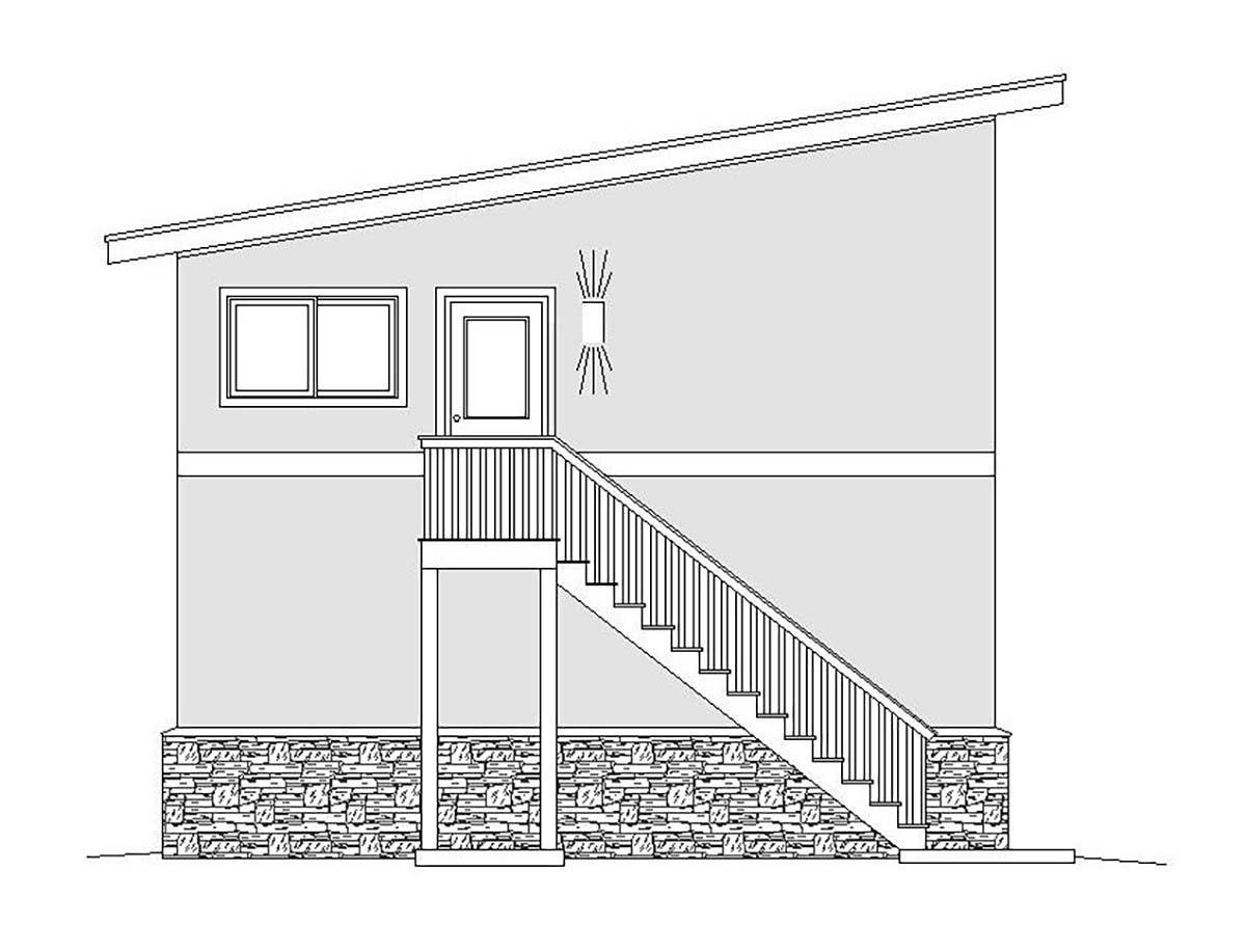 Contemporary, Modern 2 Car Garage Plan 51674, RV Storage Rear Elevation