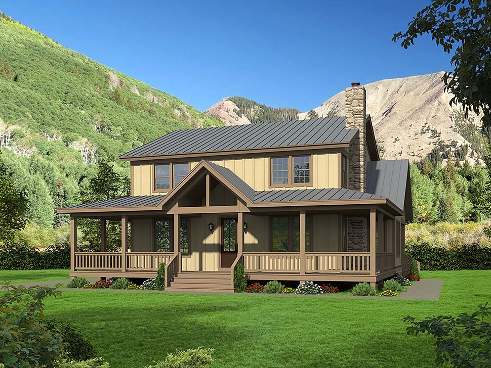 Country, Farmhouse, Traditional House Plan 51678 with 4 Beds, 3 Baths Elevation