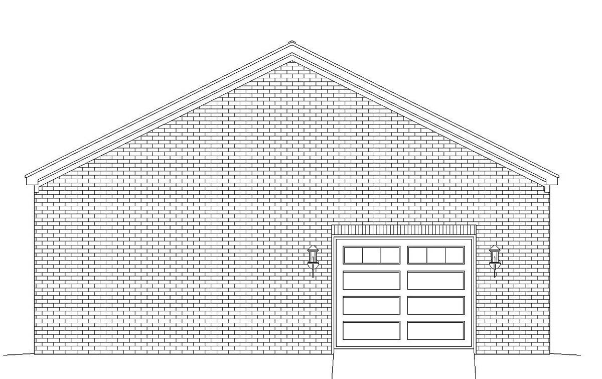 Colonial European Ranch Traditional Rear Elevation of Plan 51683