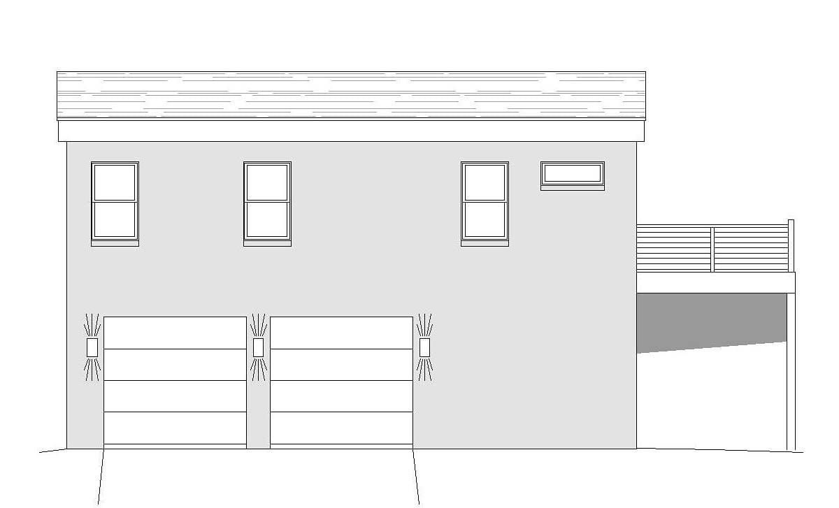Coastal, Contemporary, Modern Garage-Living Plan 51695 with 1 Beds, 2 Baths, 3 Car Garage Rear Elevation