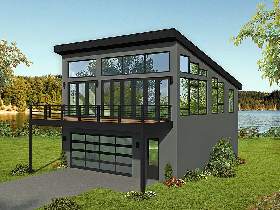 Modern Style 2 Car Garage Apartment Plan 51698