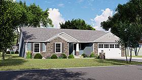 Craftsman , Ranch House Plan 51810 with 4 Beds, 4 Baths, 2 Car Garage Elevation