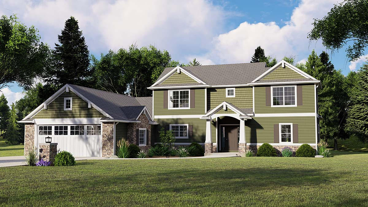 Bungalow, Coastal, Cottage, Country, Craftsman, Traditional, Tudor House Plan 51816 with 3 Beds, 3 Baths, 3 Car Garage Elevation