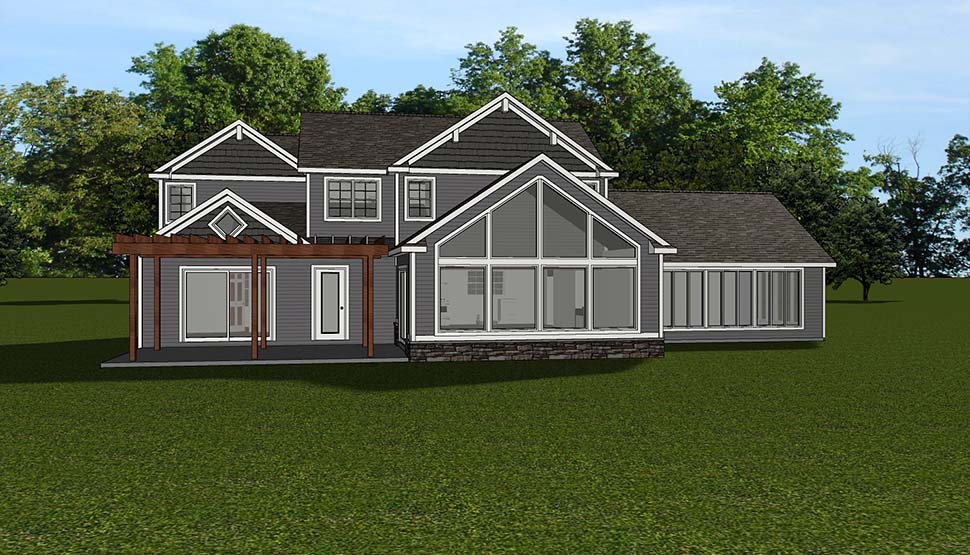 Bungalow, Coastal, Cottage, Country, Craftsman, Traditional, Tudor House Plan 51816 with 3 Beds, 3 Baths, 3 Car Garage Rear Elevation
