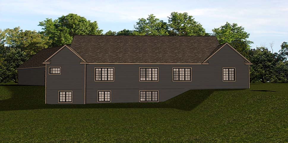 Country, Craftsman, Ranch House Plan 51824 with 2 Beds, 2 Baths, 3 Car Garage Rear Elevation