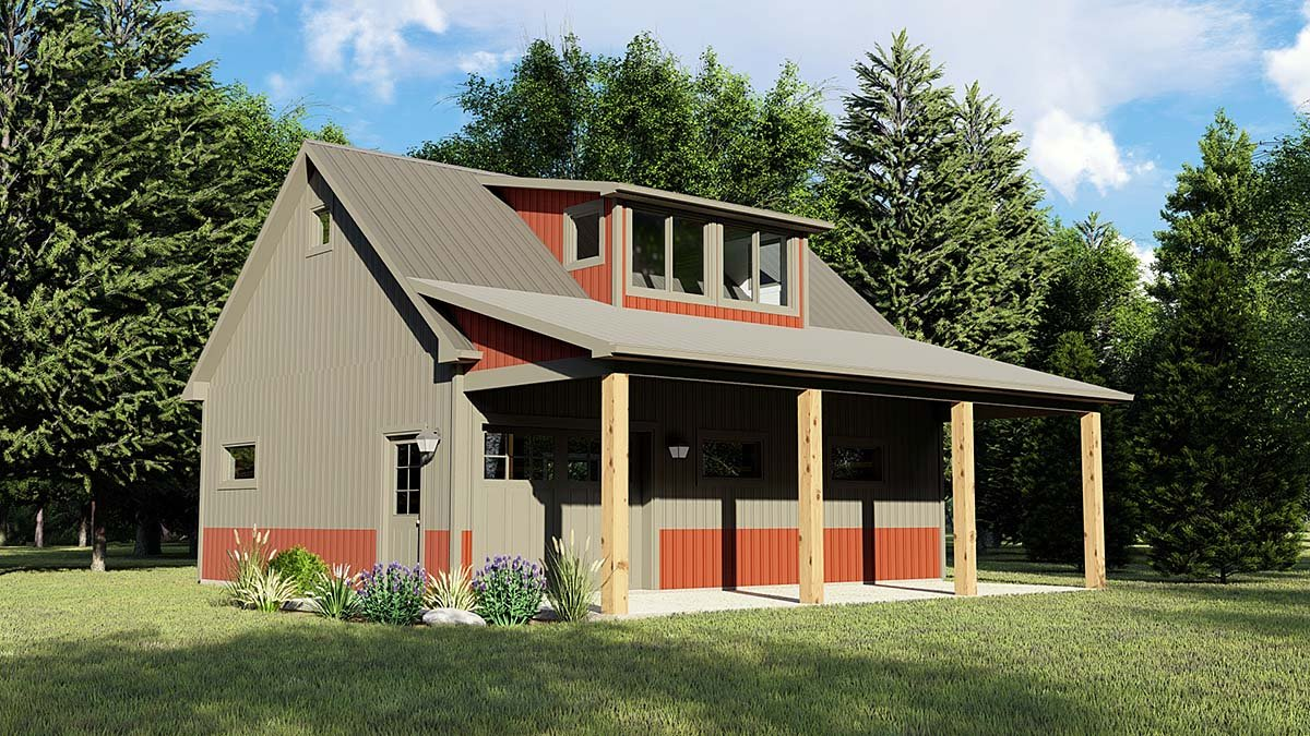 Country, Southern 1 Car Garage Apartment Plan 51832 Elevation
