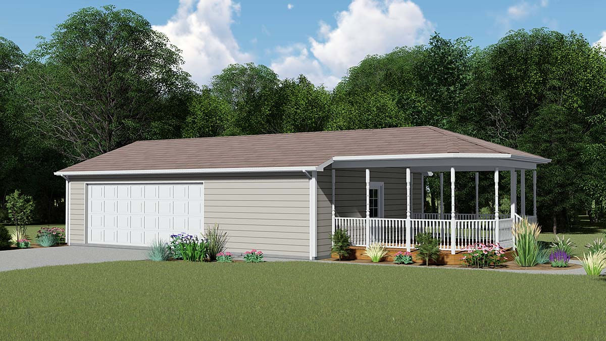 Country, Traditional 1 Car Garage Plan 51838 Elevation
