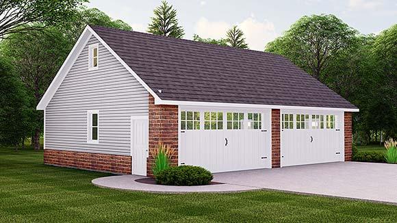 Bungalow, Country, Craftsman, Traditional 2 Car Garage Plan 51840 Elevation