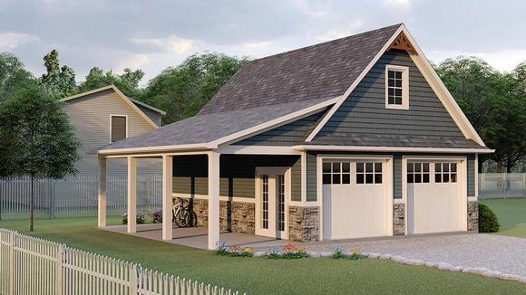 Bungalow, Country, Craftsman 2 Car Garage Apartment Plan 51858 Elevation