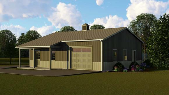 Country, Craftsman, Traditional 3 Car Garage Plan 51876 Elevation