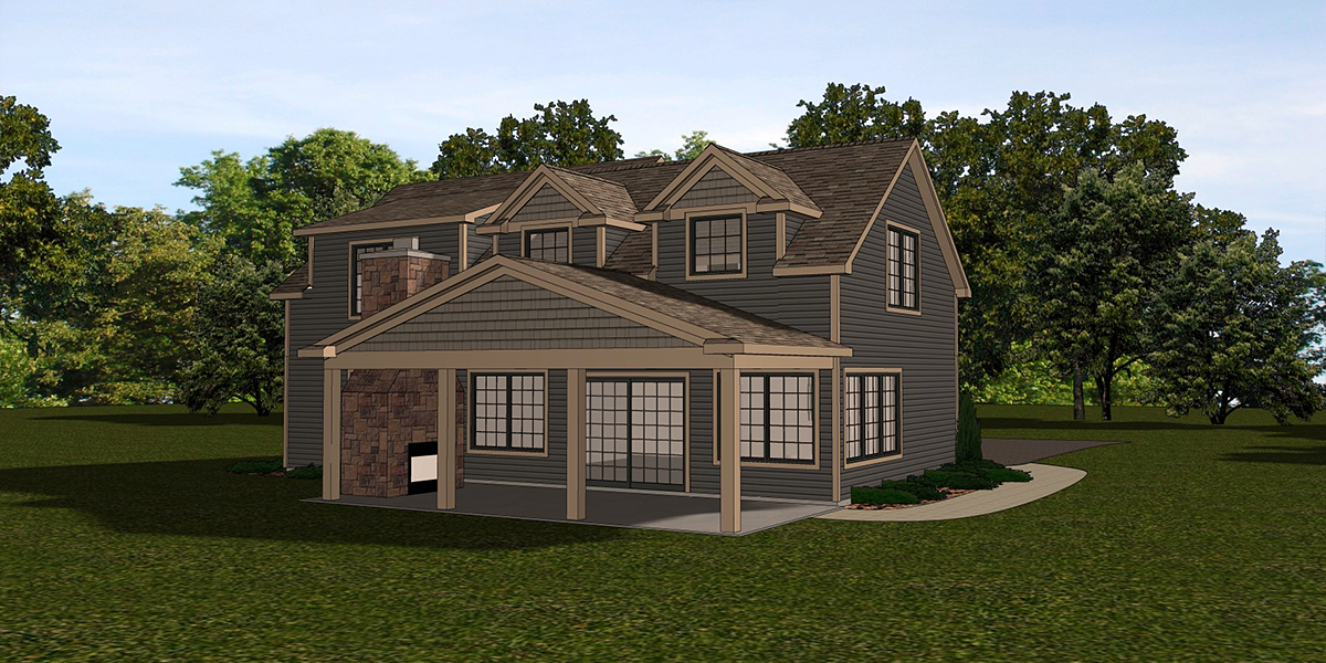 Country, Craftsman, Traditional House Plan 51877 with 4 Beds, 3 Baths Rear Elevation