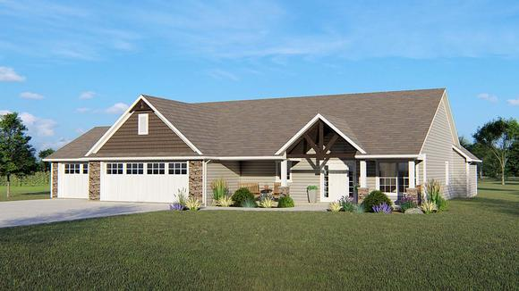 Country, Craftsman, Ranch House Plan 51878 with 3 Beds, 3 Baths, 3 Car Garage Elevation