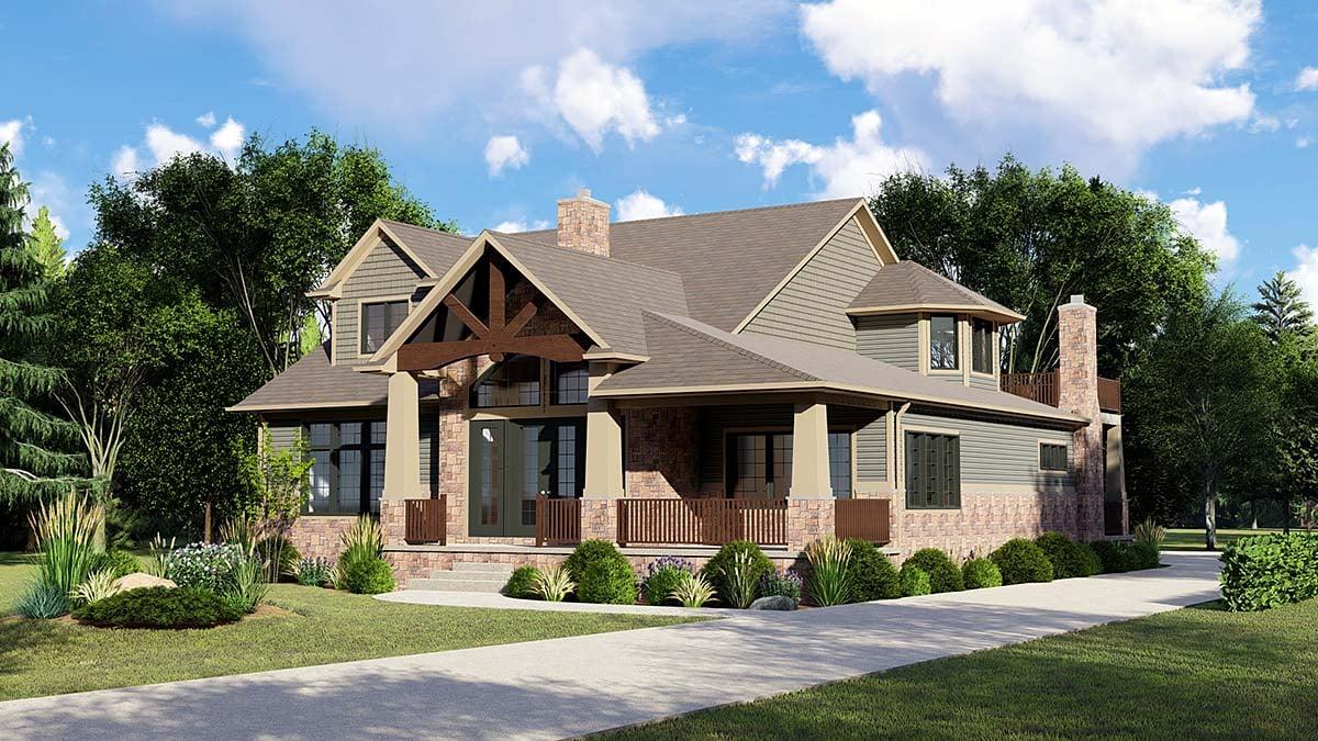 Craftsman House Plan 51880 with 4 Beds, 3 Baths, 2 Car Garage Elevation