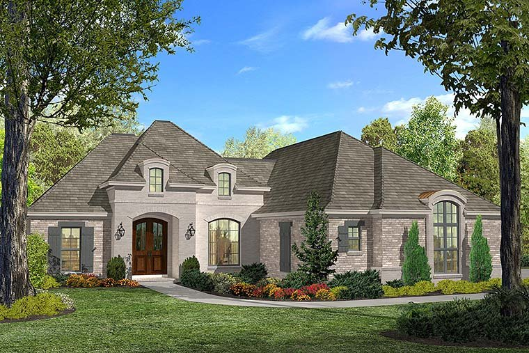 Country, French Country House Plan 51910 with 3 Beds, 2 Baths, 2 Car Garage Elevation