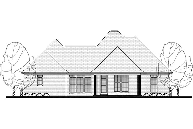 Country, French Country House Plan 51910 with 3 Beds, 2 Baths, 2 Car Garage Rear Elevation