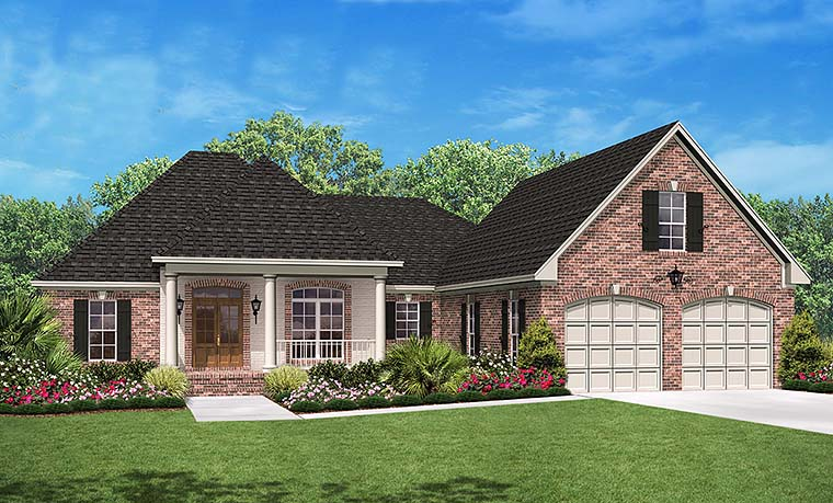 Country, French Country, Southern House Plan 51916 with 3 Beds, 3 Baths, 2 Car Garage Elevation