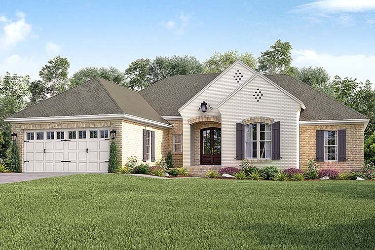 Country, European, French Country House Plan 51918 with 4 Beds, 2 Baths, 2 Car Garage Elevation