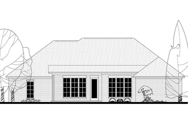 Country, European, French Country House Plan 51918 with 4 Beds, 2 Baths, 2 Car Garage Rear Elevation