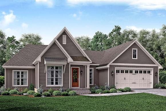 Cottage, Country, Craftsman, Traditional House Plan 51919 with 3 Beds, 2 Baths, 2 Car Garage Elevation