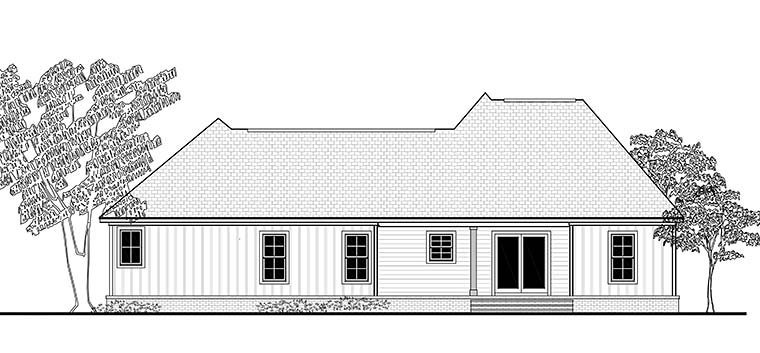 Cottage, Country, Craftsman, Traditional House Plan 51919 with 3 Beds, 2 Baths, 2 Car Garage Rear Elevation