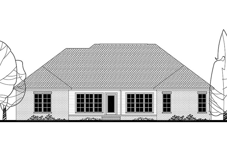 Ranch Traditional House Plan 51927 Rear Elevation